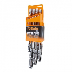 Beta 9-piece set of switchable ratcheting box wrenches with knee joint